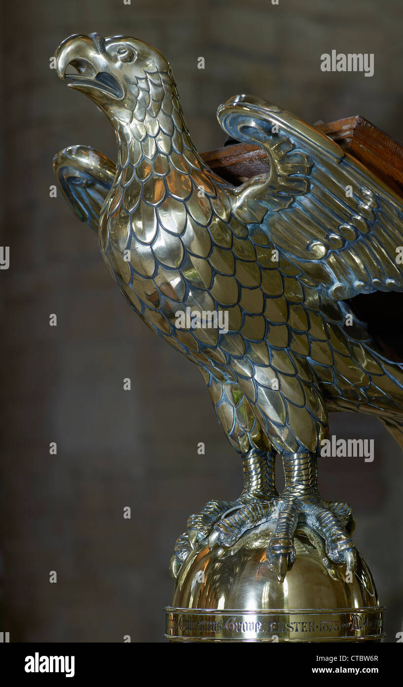 Tewkesbury Abbey, brass eagle lectern - Stock Image