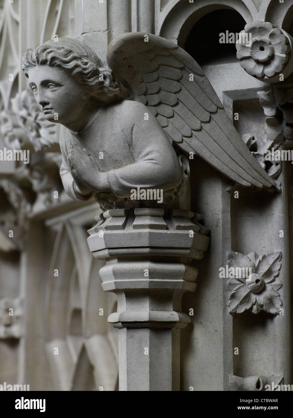 Tewkesbury Abbey stone carving of angel on pulpit, 1897 - Stock Image