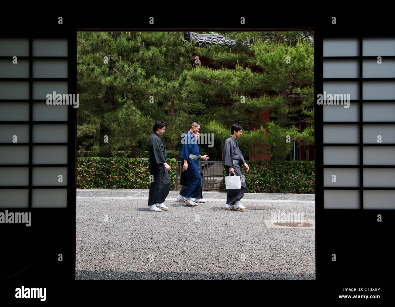 Daitoku-ji temple, Kyoto, Japan. Men wearing yukata, lightweight summer kimonos - Stock Image