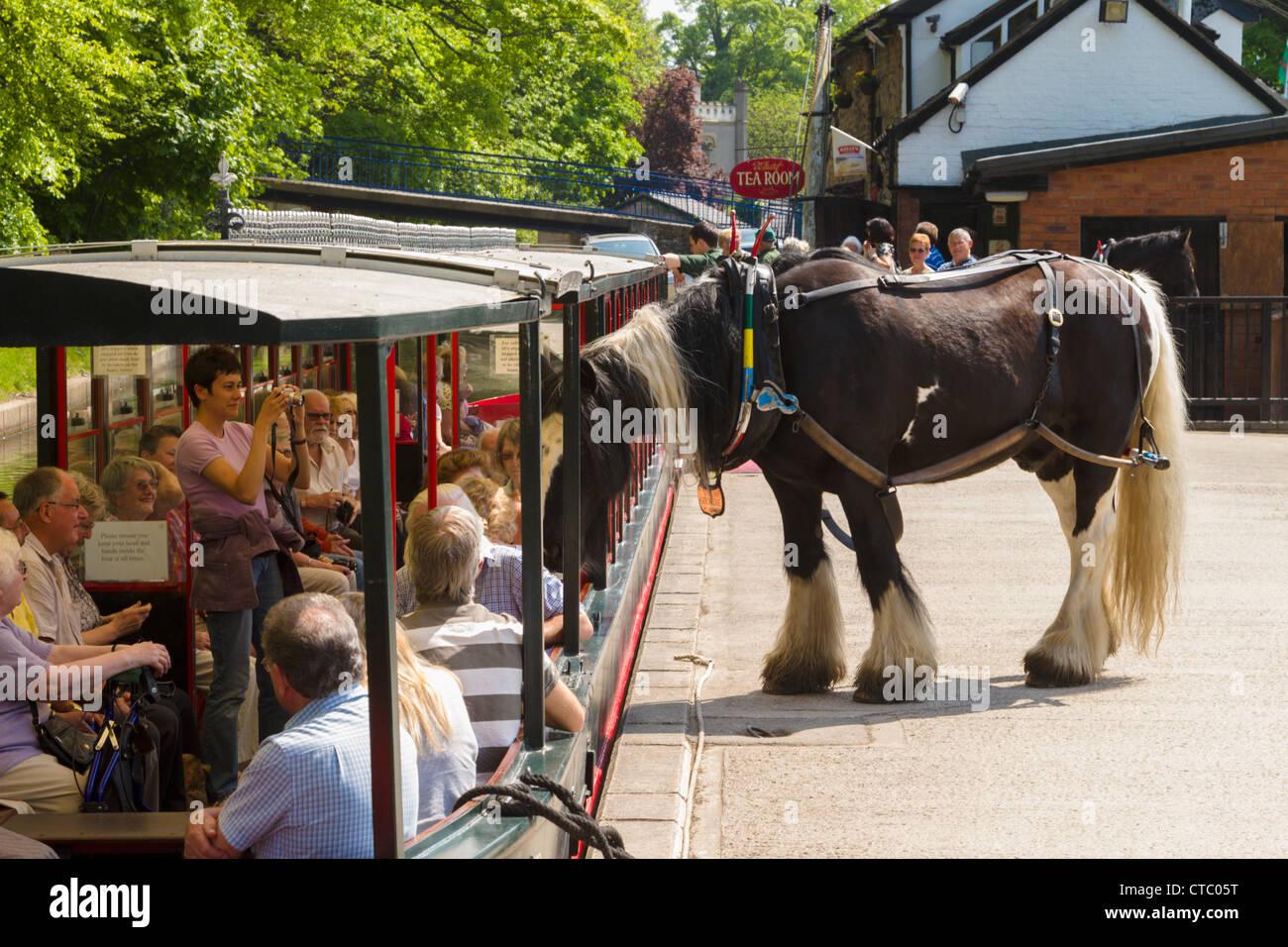 Llangollen horse drawn boat Stock Photo