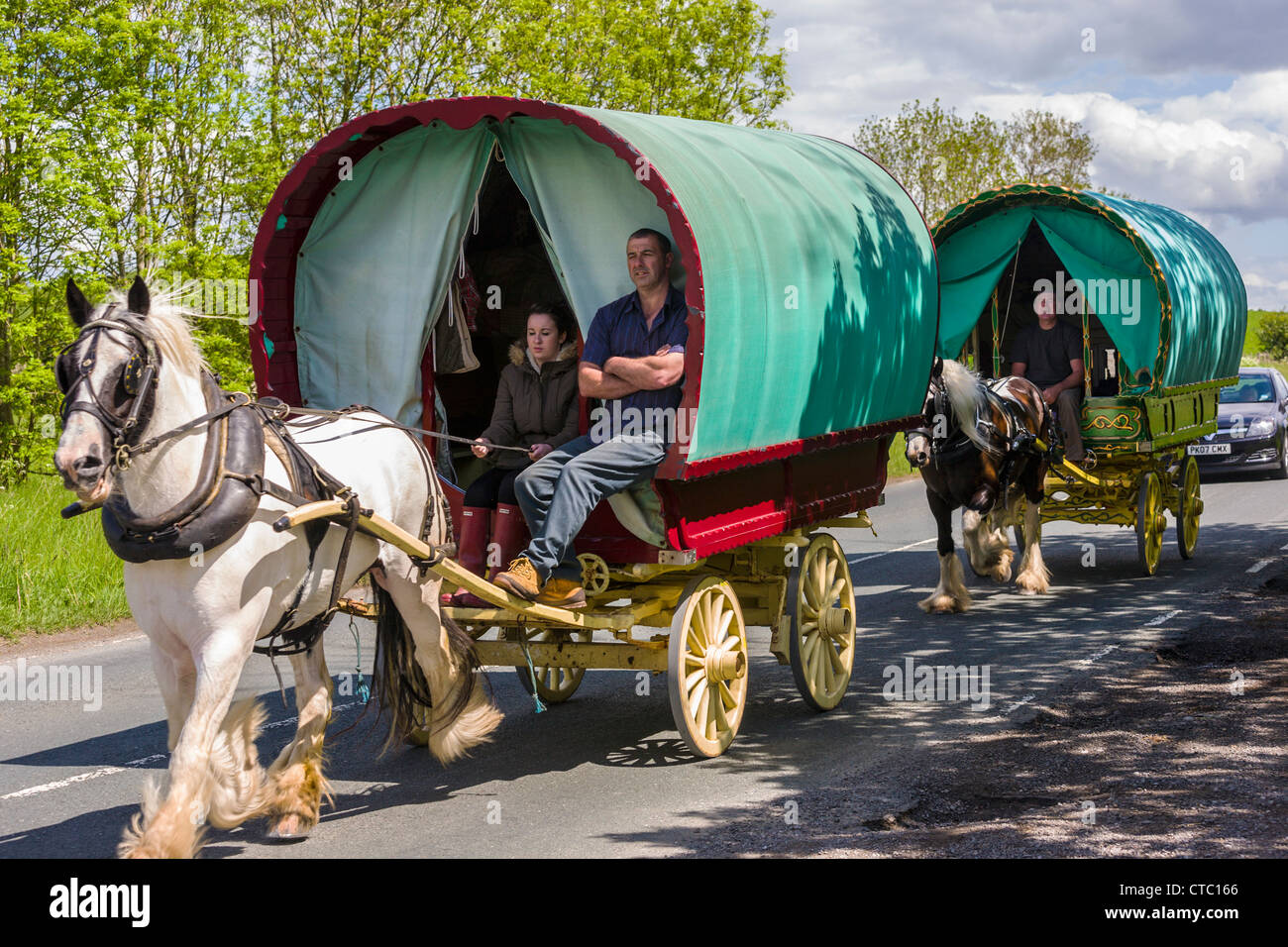 Gypsy caravan, Wharfedale, Yorkshire - Stock Image