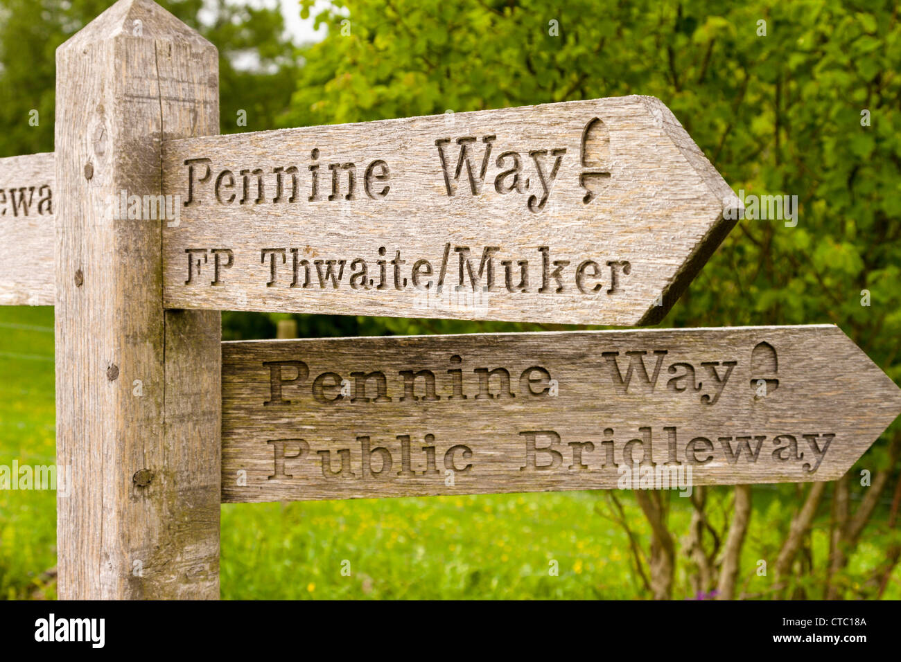 Pennine Way sign post, Yorkshire - Stock Image