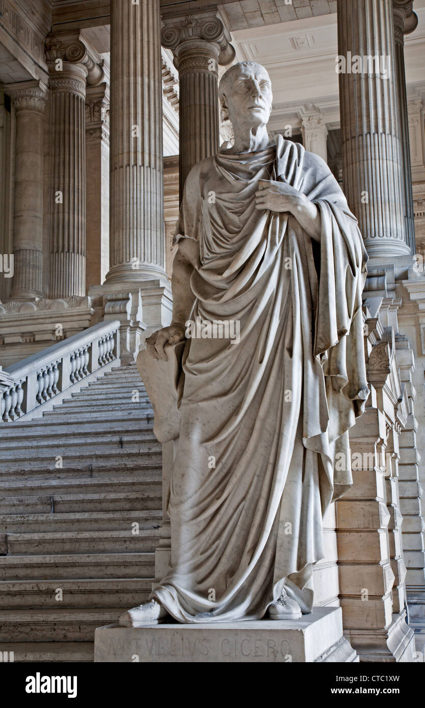 BRUSSELS - JUNE 22: Statue of ancient orator and philosopher Cicero from vestiubule of Justice palace - Stock Image
