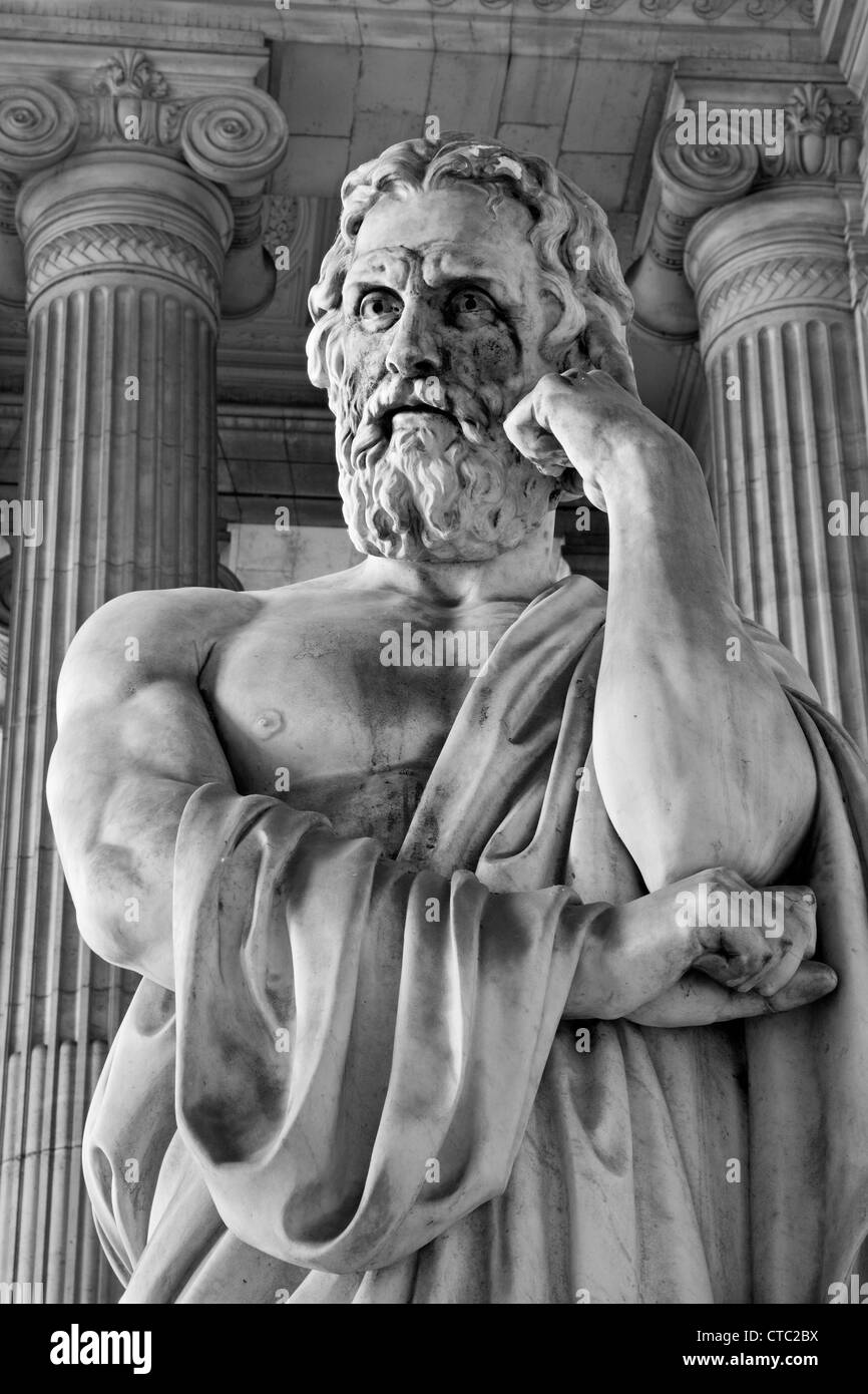 BRUSSELS - JUNE 22: Statue of Lycurgos ancient king of Sparta from vestiubule of Justice palace - Stock Image