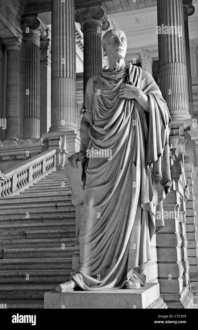 BRUSSELS - JUNE 22: Statue of ancient orator and philosopher Cicero from vestiubule of Justice palace in Brussels - Stock Image