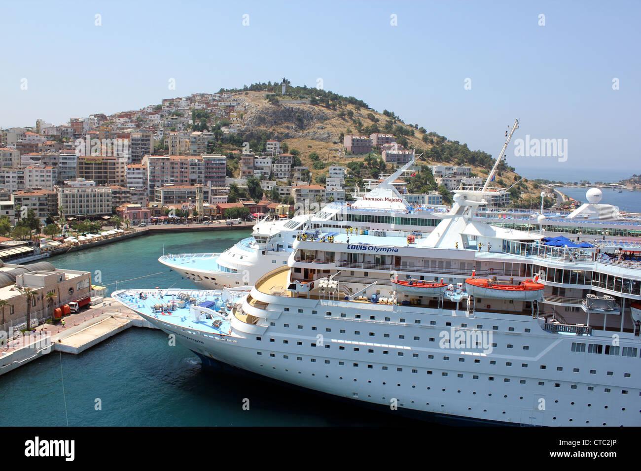 Cruise ships docked at Kusadasi, Louis Olympia and Thomson Majesty, Turkey - Stock Image