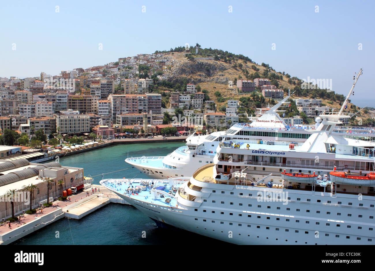 Cruise ships docked at Kusadasi, Turkey - Stock Image