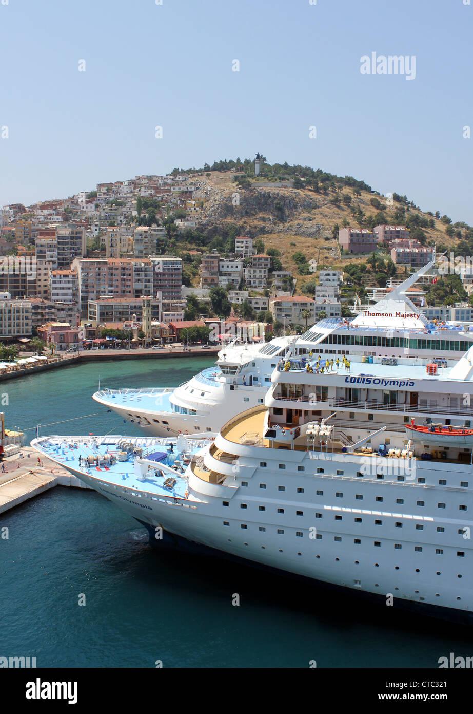 Cruise ships docked at Kusadasi, Louis Olympia and Thomson Majesty, Kusadasi, Turkey - Stock Image