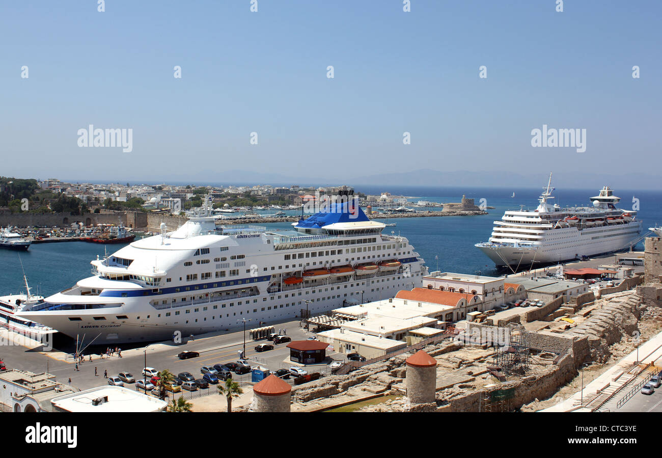 Louis Cristal and Louis Olympia Cruise ships docked at Rhodes Island, Greece - Stock Image