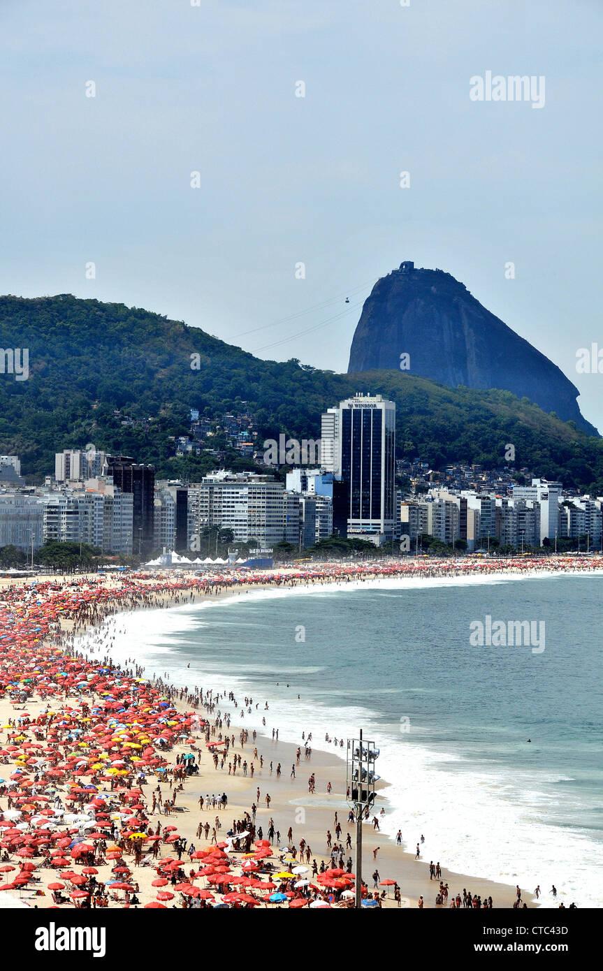 Copacabana beach and Sugarloaf Rio de Janeiro Brazil South America Stock Photo