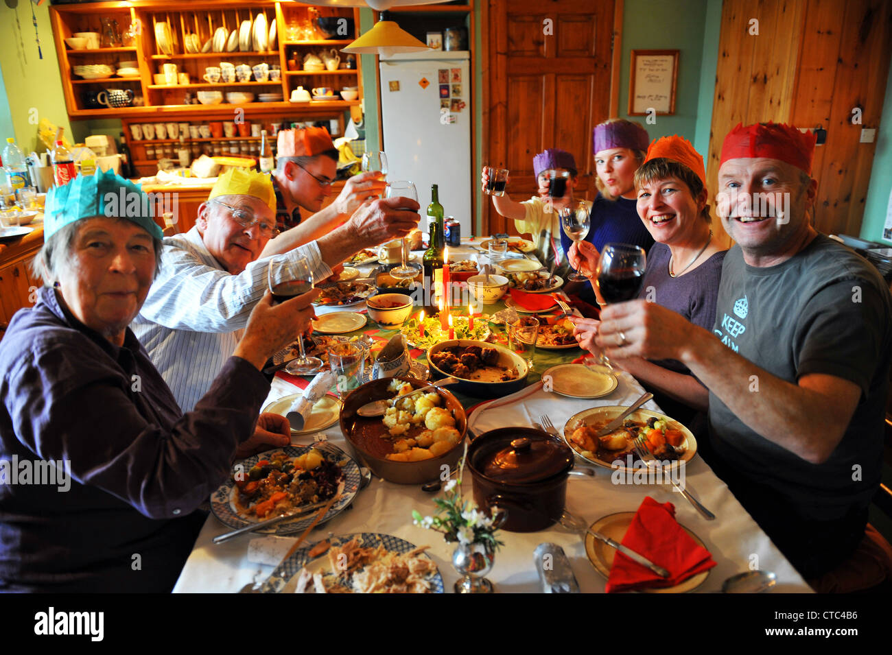 family christmas dinner for all the generations uk stock image