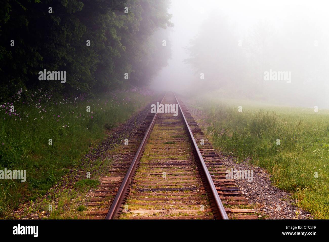 Ohio Sunrise rail track - Stock Image