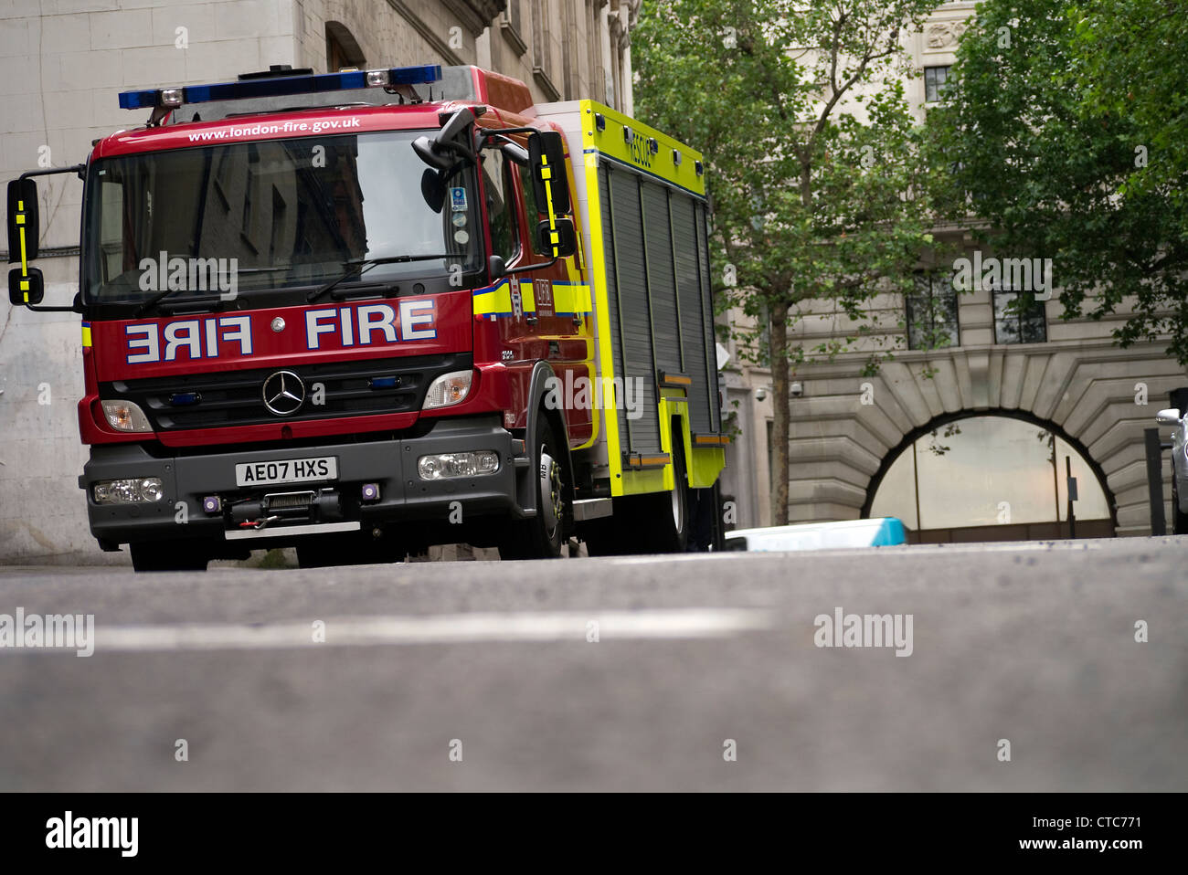 London Fire Brigade Fire engine in central London - Stock Image