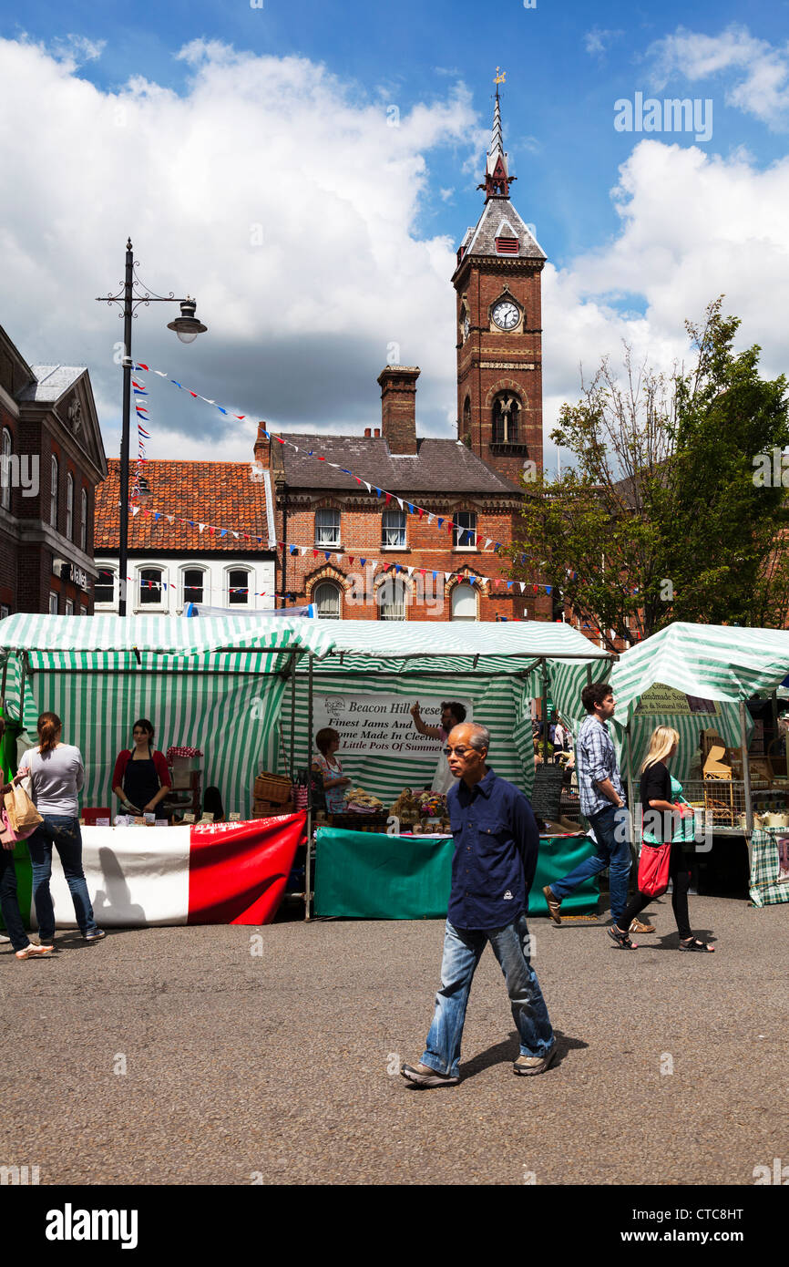 Market stall holders selling at Louth food festival Lincolnshire, UK, England - Stock Image