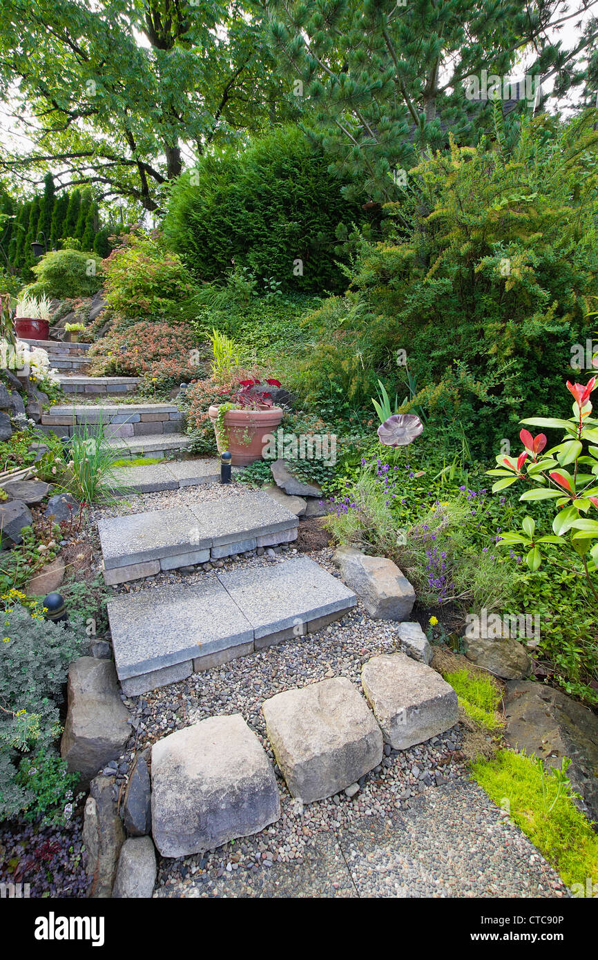 Garden Cement Tile Stair Steps Leading up to Backyard Patio & Garden Cement Tile Stair Steps Leading up to Backyard Patio Stock ...
