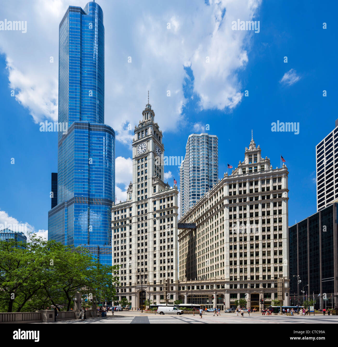 The Wrigley Building on N Michigan Avenue with the Trump International Hotel and Tower behind, Chicago, Illinois, - Stock Image