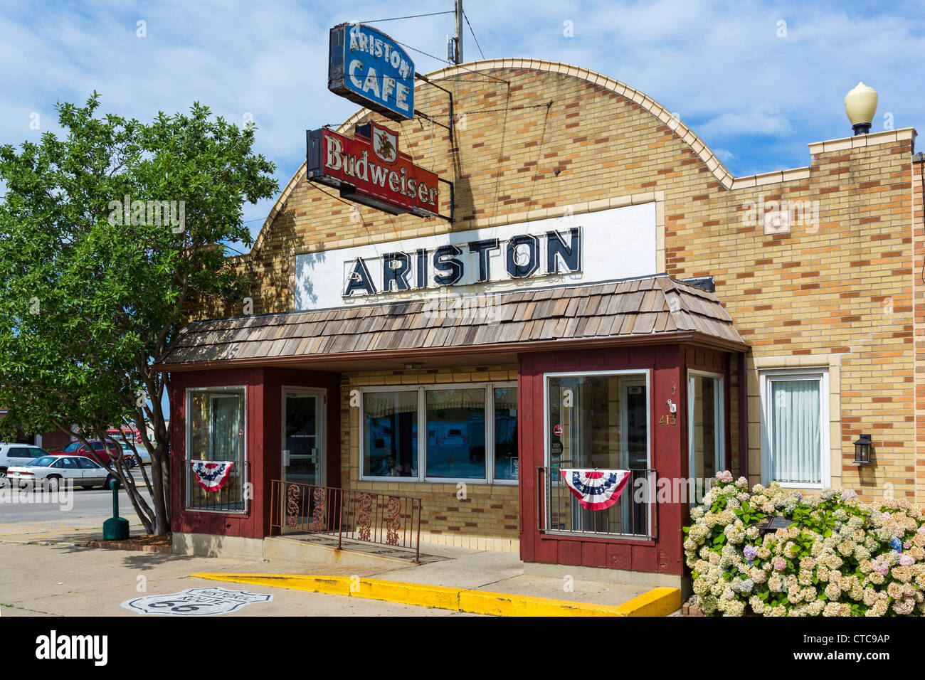 The historic Ariston Cafe on old US Route 66 in Litchfield, Illinois, USA - Stock Image