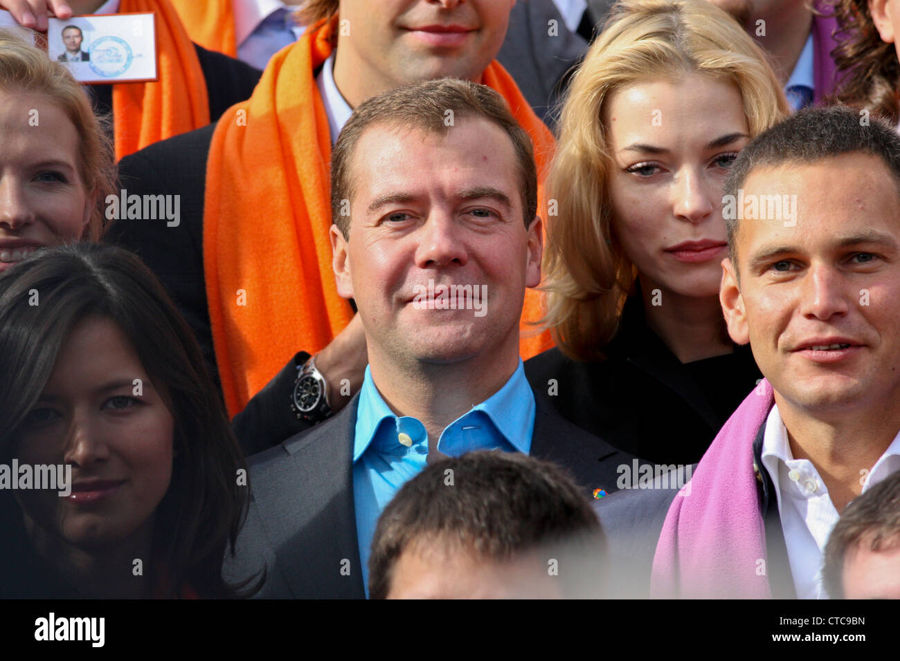 Russian president Dmitry Medvedev with students during a ceremony at Skolkovo MBA school near Moscow, Russia - Stock Image