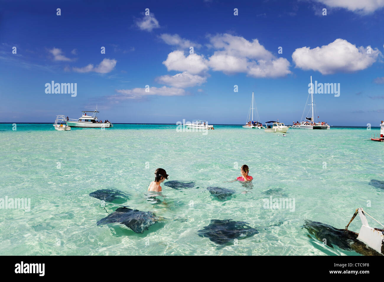 Brother & sister enjoy playing with the stingrays at the sandbar off Grand Cayman - Stock Image