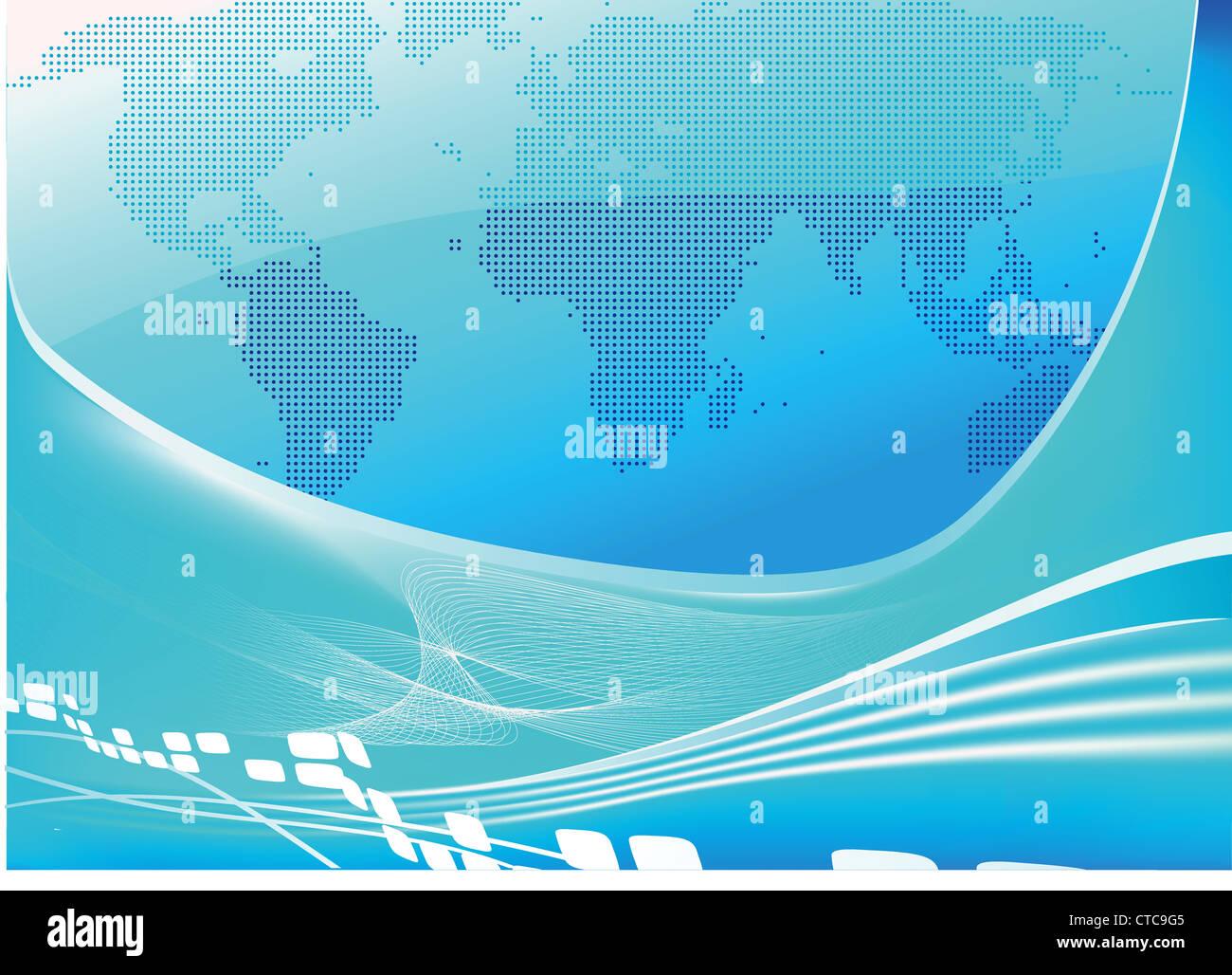 Vector illustration of stylised blue world map background - Stock Image