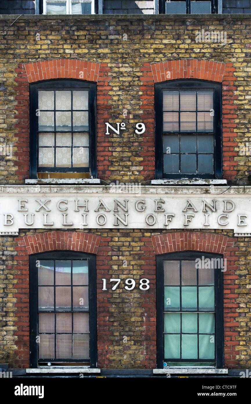 Number nine, Exchange and bullion office 1798, Wardour Street. London, England - Stock Image