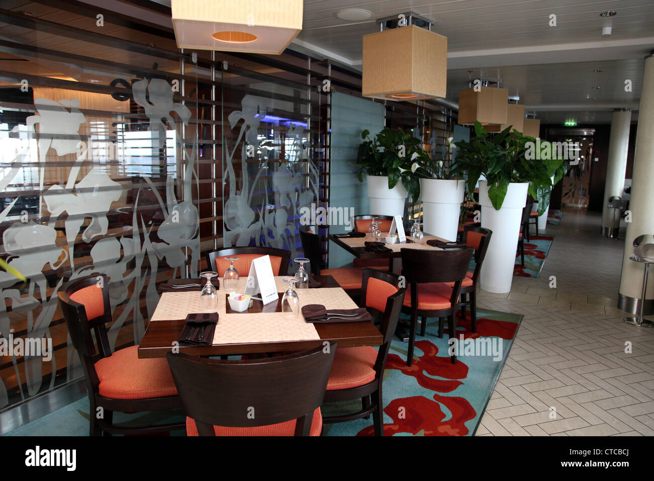 Bistro on Five, creperie on the Celebrity Solstice, luxury cruise ship - Stock Image