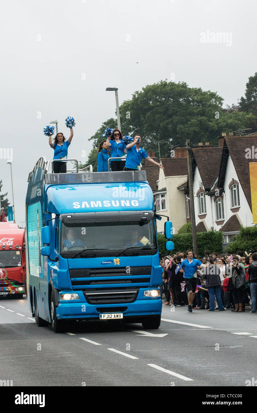 Samsung's special sponsors vehicle in the Olympic Torch Relay - Stock Image