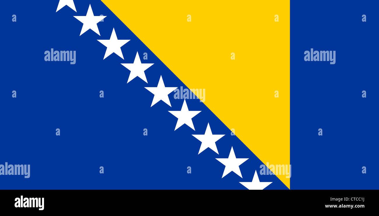 Flag of the Republic of Bosnia and Herzegovina. Stock Photo
