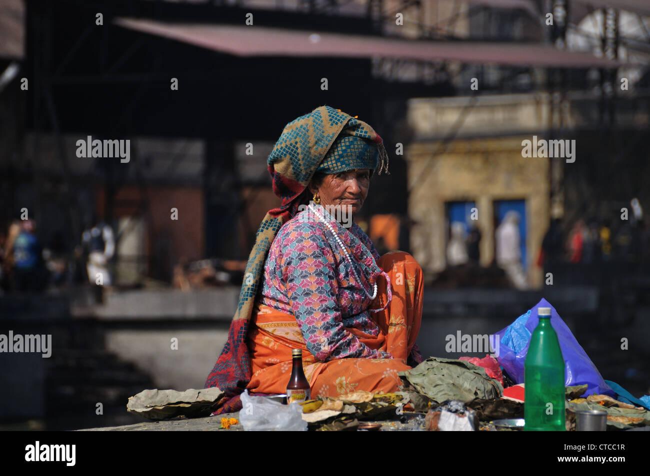 Nepali Woman Photographed At Pashupatinath Kathmandu - Stock Image