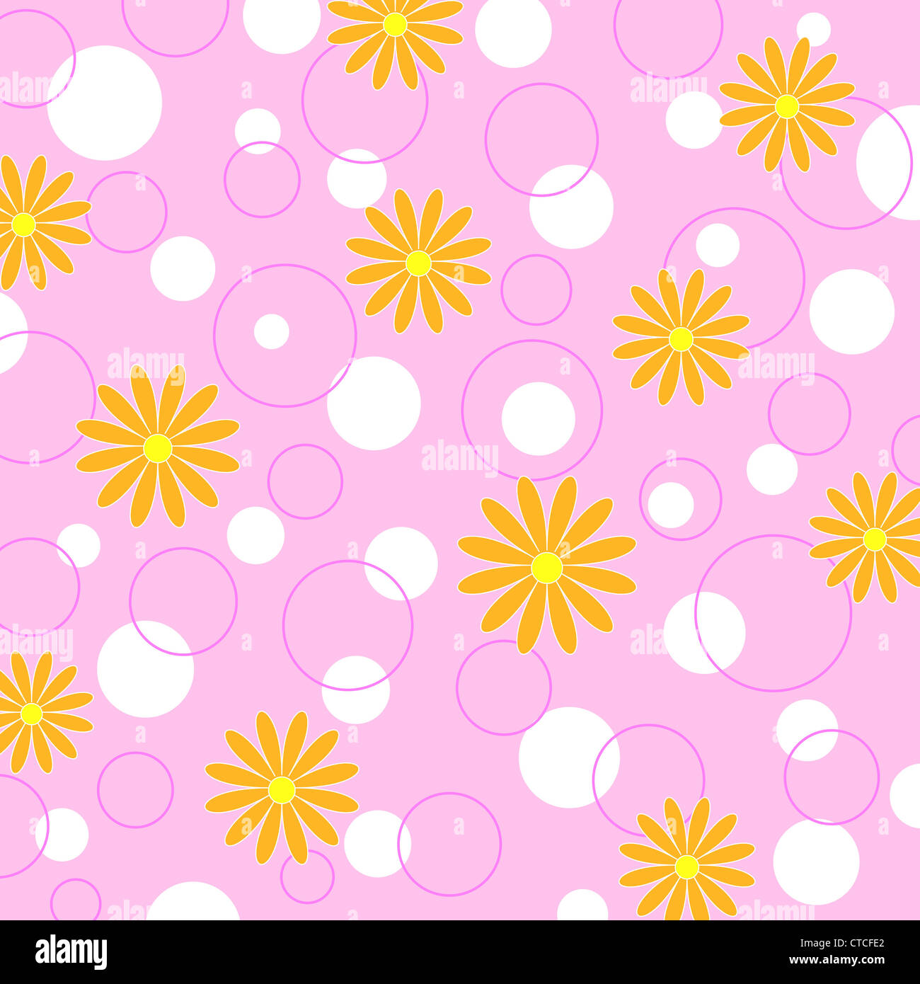 Seamless flowers and circles pattern on pink Stock Photo