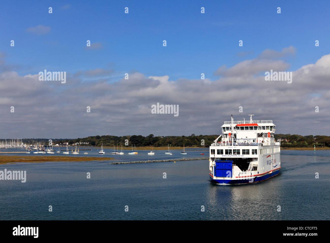 4129. Wight-Link Ferry leaving Lymington, Hampshire, UK - Stock Image