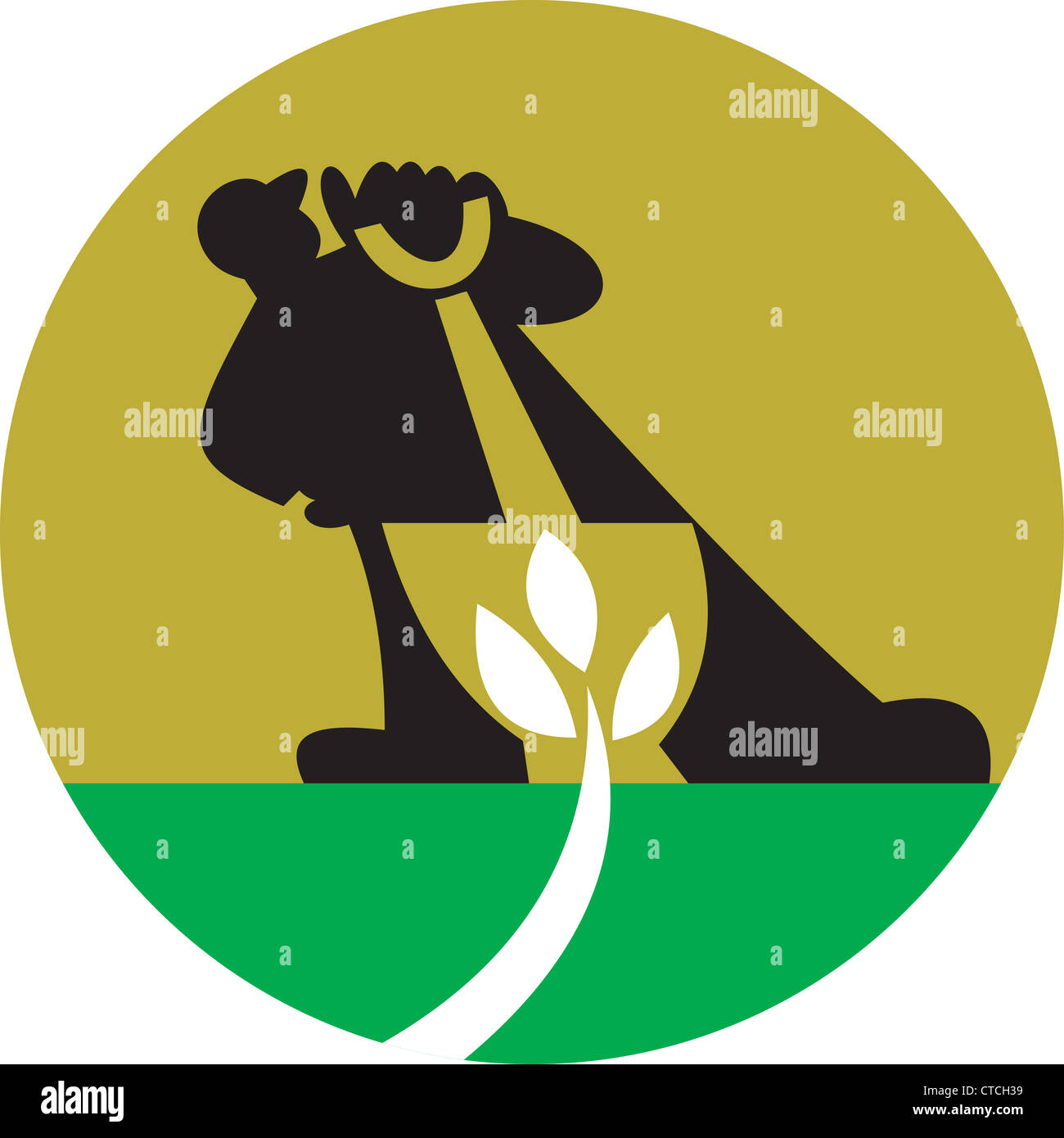 Illustration of a male gardener landscaper with shovel digging leaf plant. - Stock Image