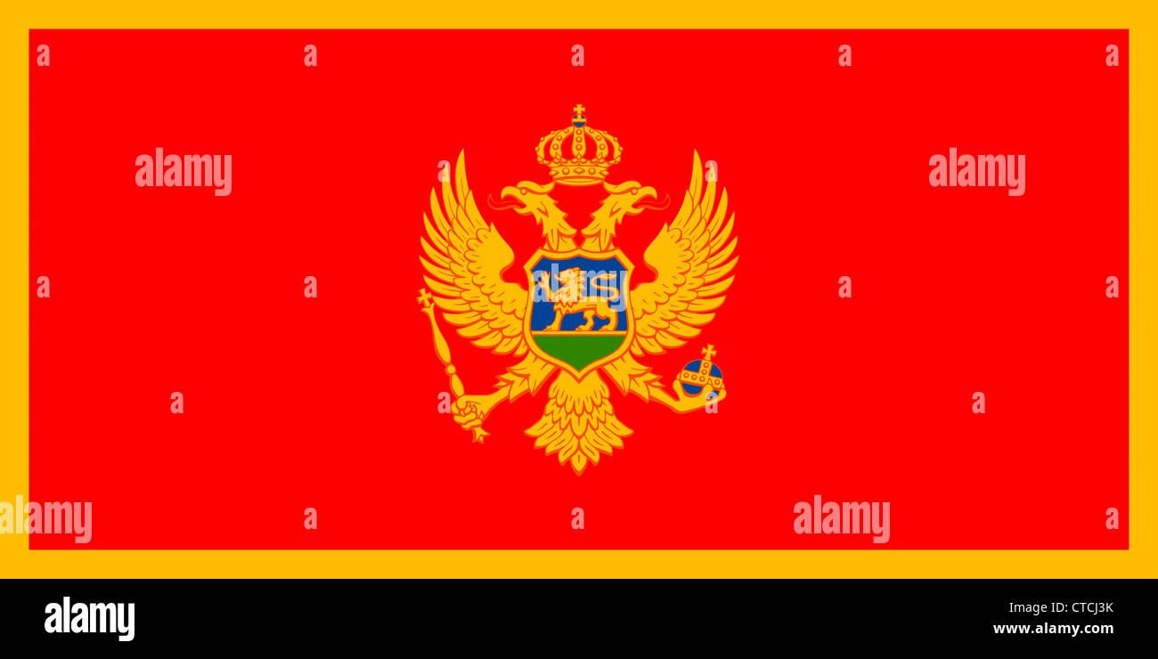 National flag of the Republic of Montenegro. Stock Photo