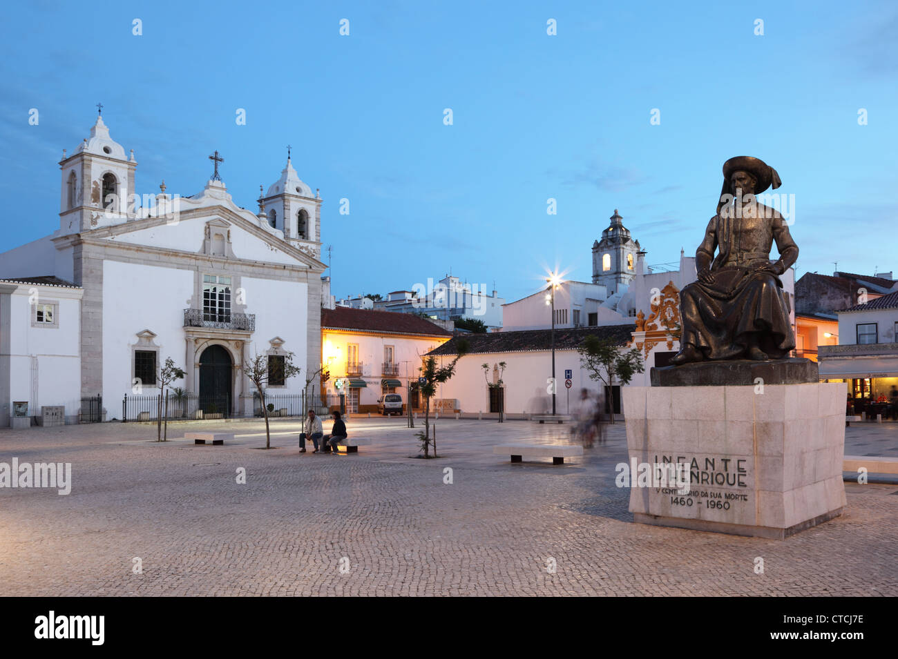 Square in Lagos at dusk, Algarve, Portugal - Stock Image