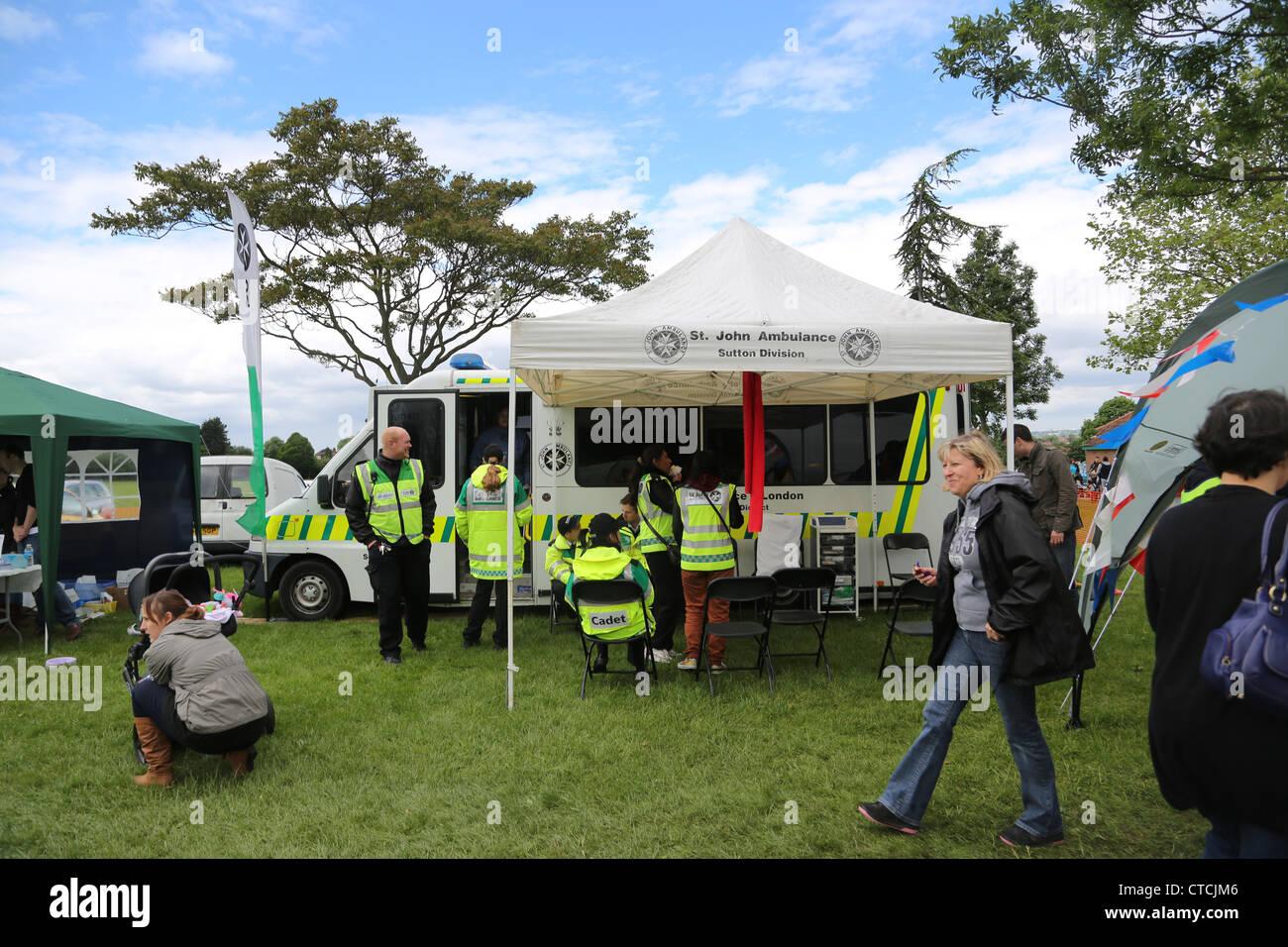 St John's Ambulance Service Cheam Village Fair Surrey England - Stock Image
