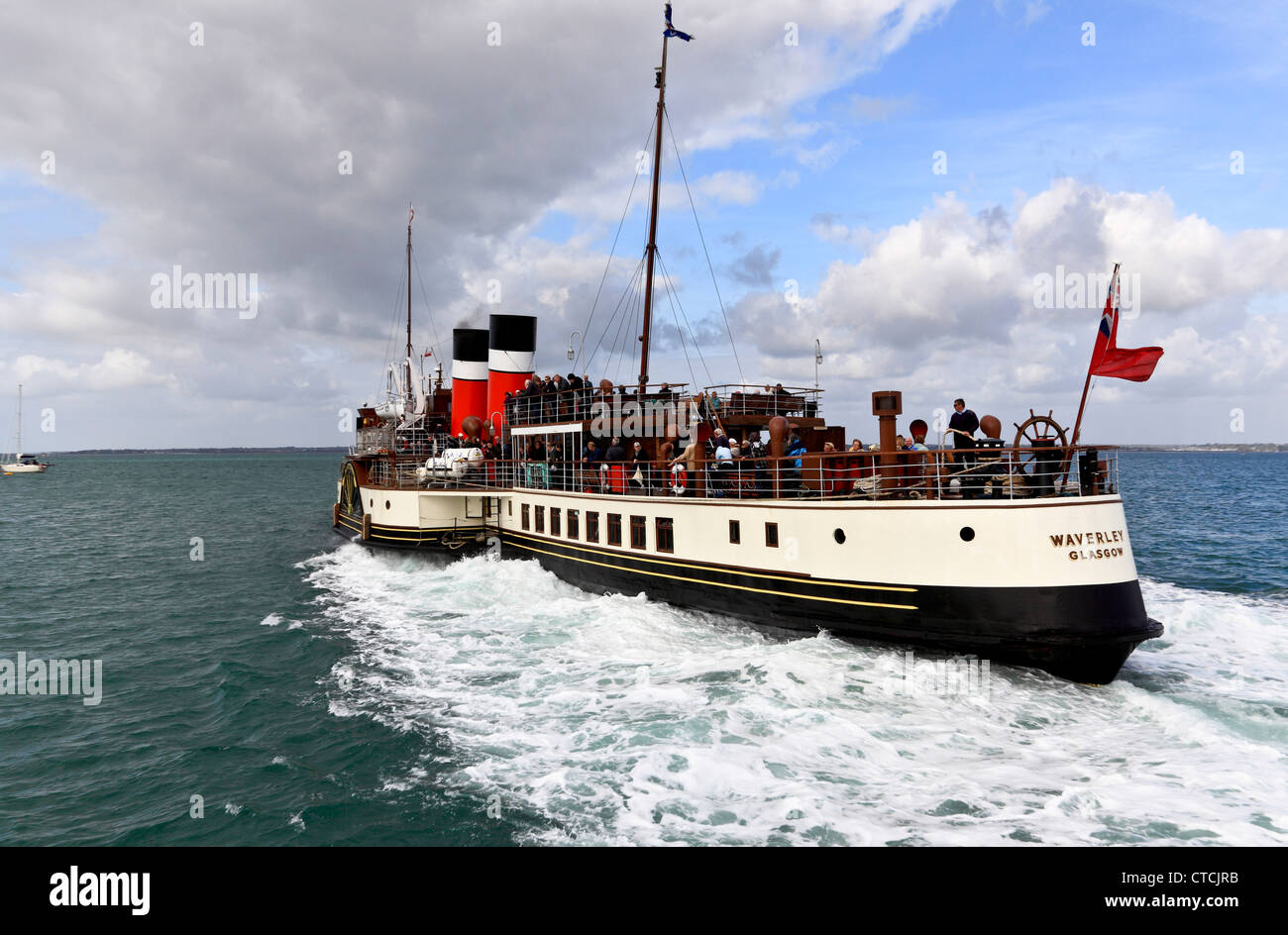 4168. The Waverley Paddle-Steamer leaving Yarmouth Pier, Isle of Wight, UK - Stock Image