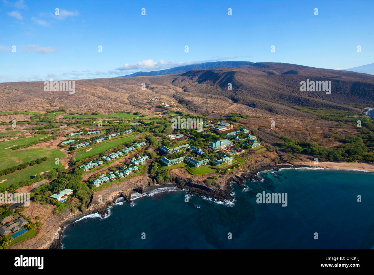 four seasons resort lanai at manele bay, lanai, hawaii stock photo
