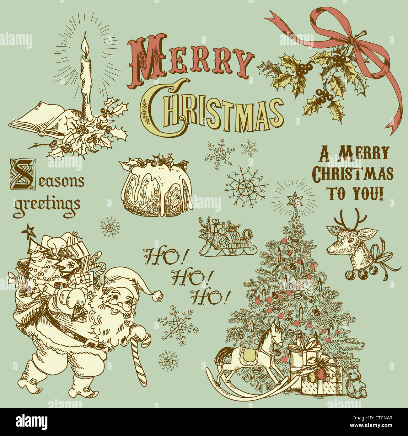 Vintage Christmas.Vintage Christmas Doodles Stock Photo 49452651 Alamy