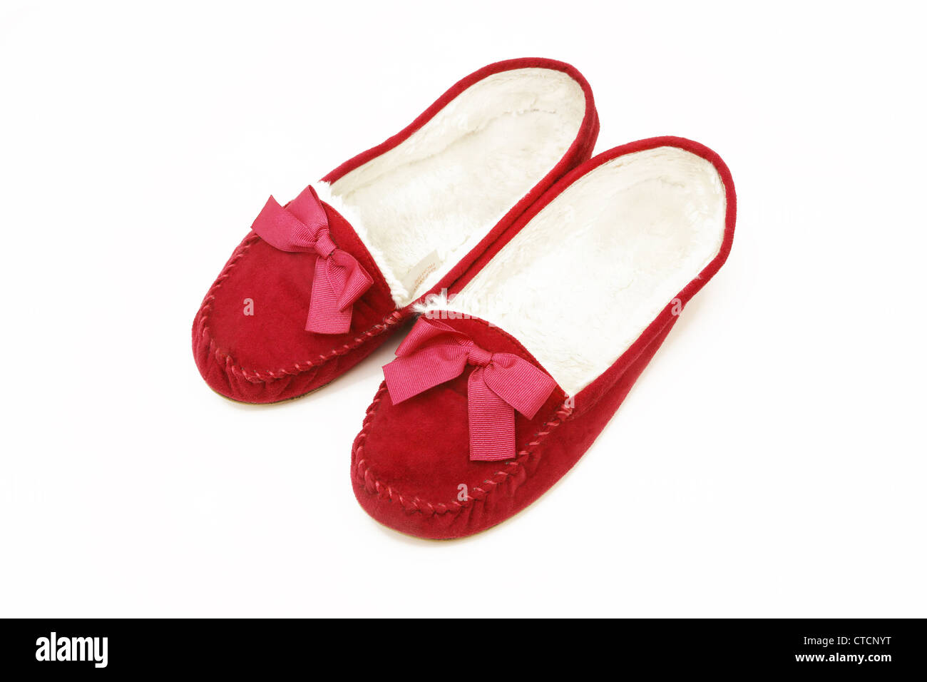 95beb4a2d81 Red Slippers With Bow Stock Photo  49453148 - Alamy
