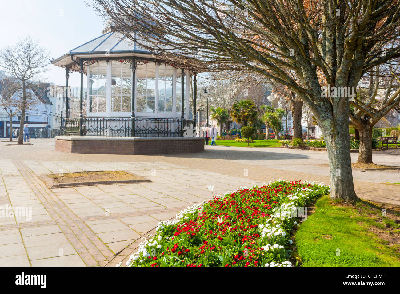 Flower beds and public space at Dartmouth Devon England UK - Stock Image