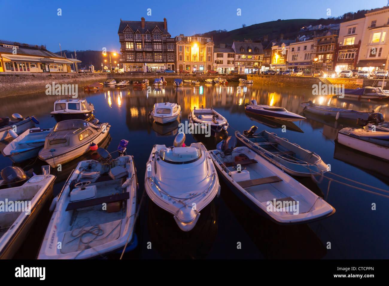 Dusk at Dartmouth Harbour South Hams, Devon England UK - Stock Image