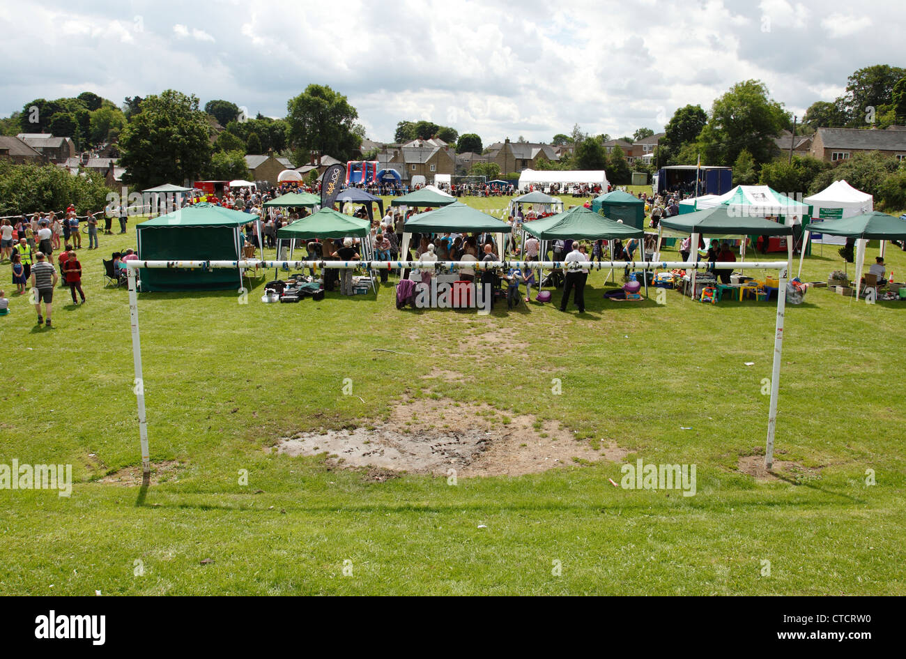A village fete on a football pitch in Derbyshire, England, U.K. - Stock Image