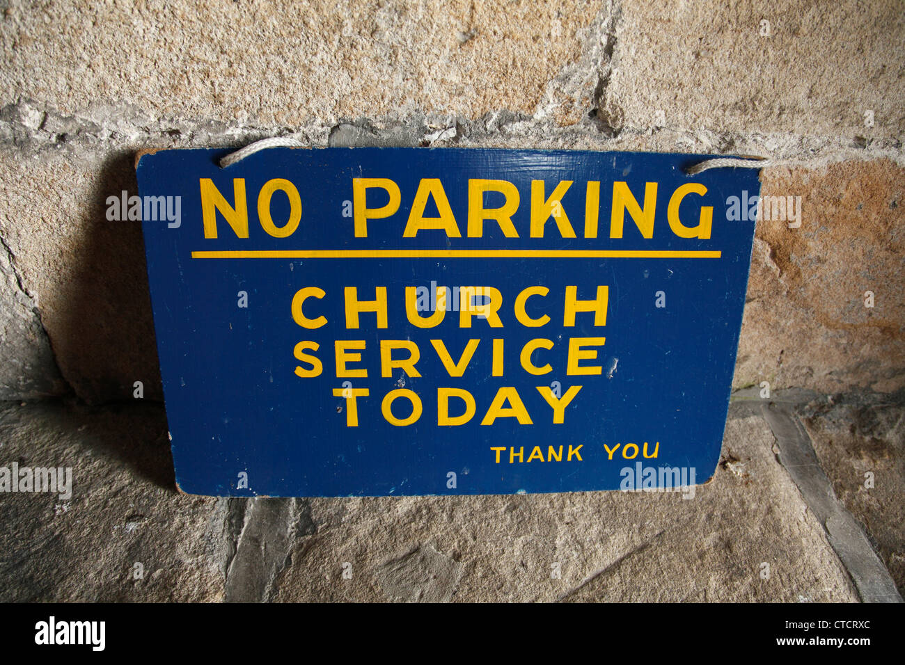 A No Parking sign at a church in Derbyshire, England, U.K. - Stock Image