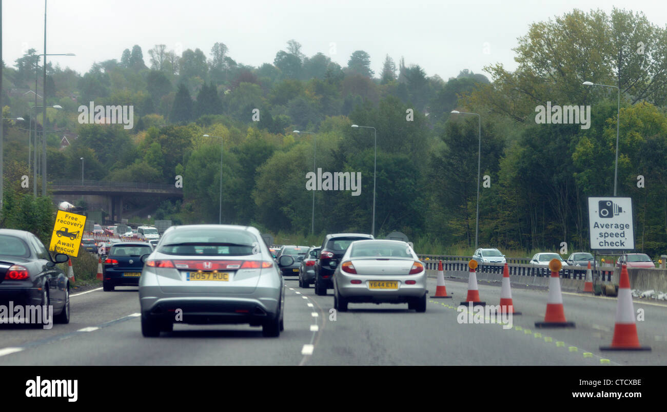 Traffic And Average Speed Check Sign On Motorway England - Stock Image