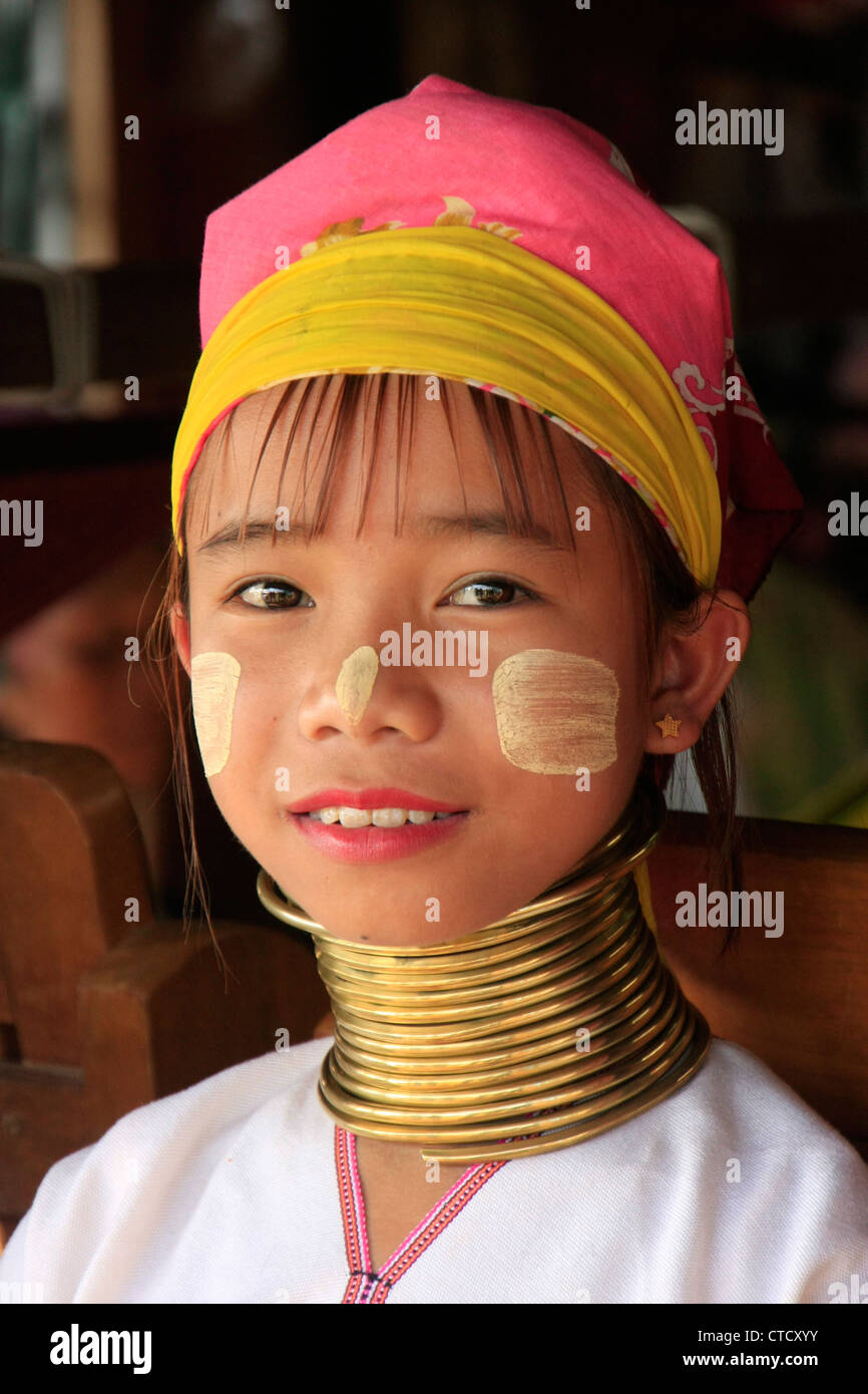 Portrait Of Young Long Necked Girl From Padaung Tribe Inle Lake Shan State