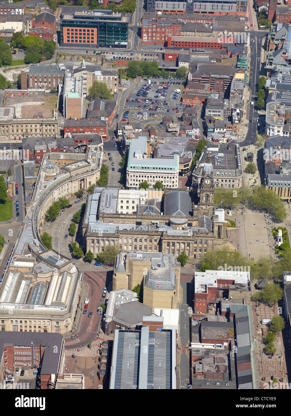 Bolton Town Centre from the air, North West England UK, showing the Town Hall & Civic quarter - Stock Image