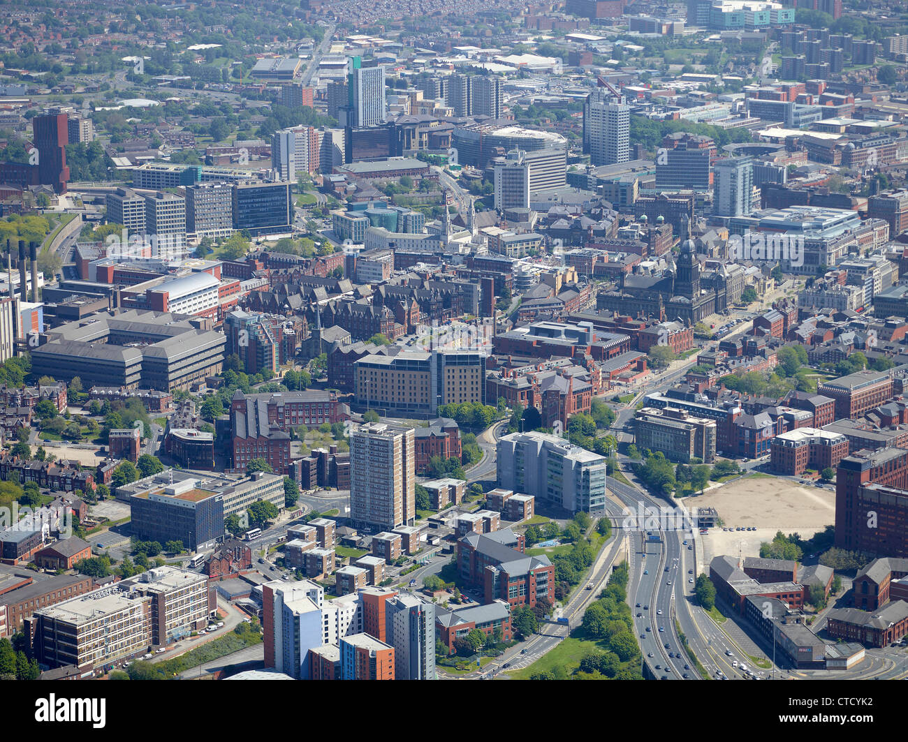 Leeds City Centre from the air, summer 2012. West Yorkshire, Northern England showing the civic, medical and university Stock Photo