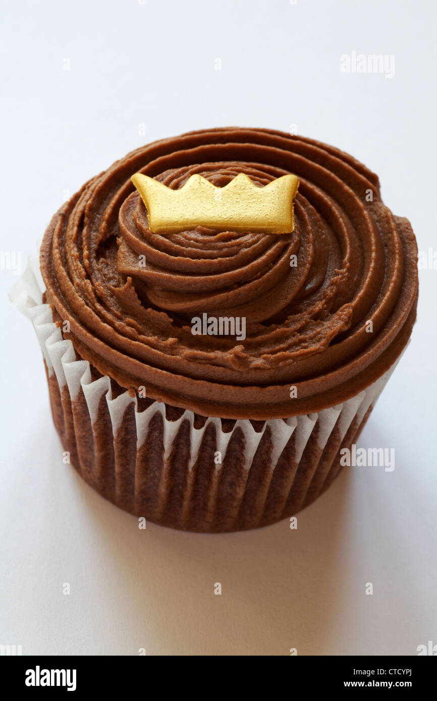 Marks & Spencer King for a Day chocolate cupcake isolated on white background Stock Photo