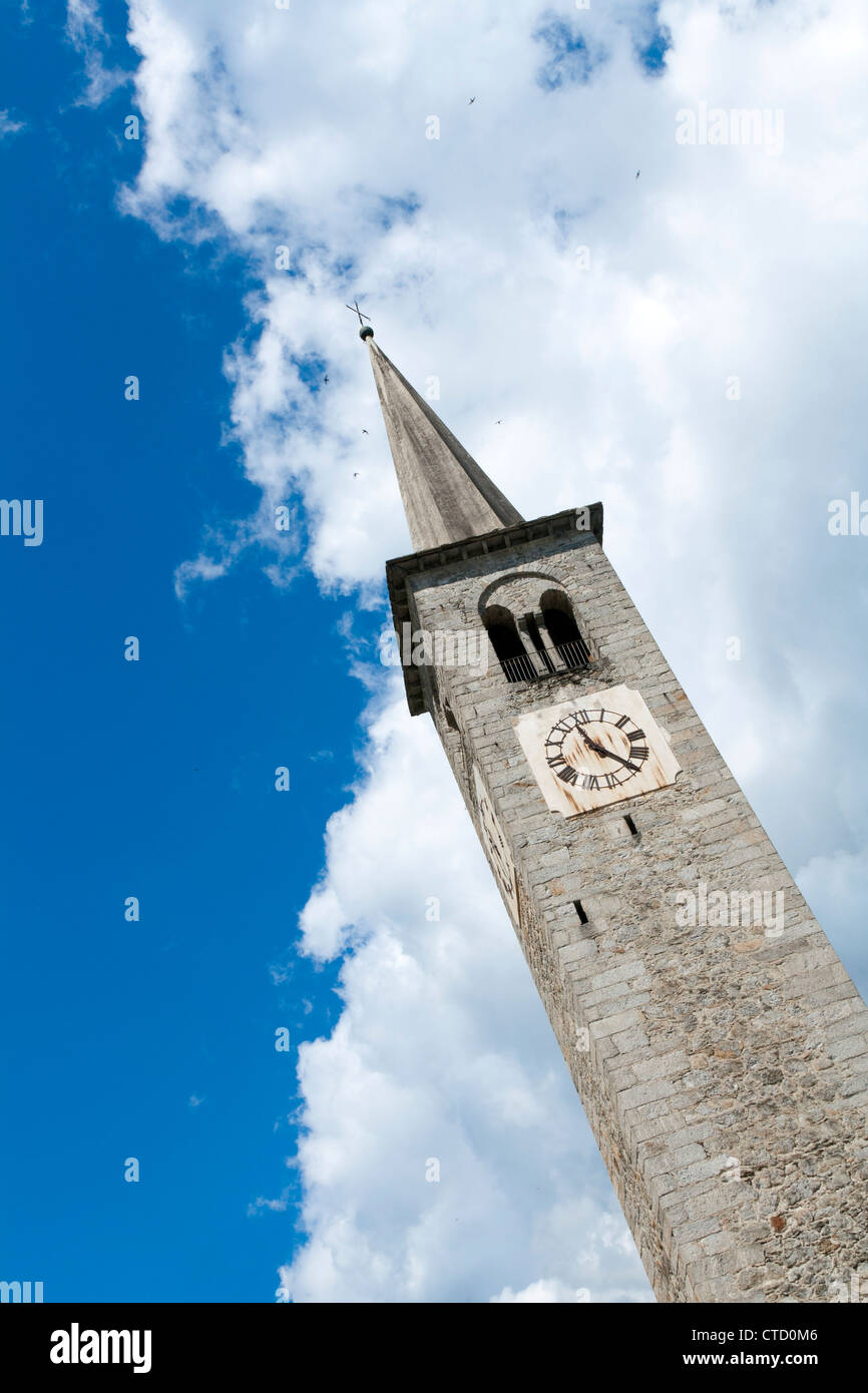 Clock tower in the blu sky, Bannio Anzino Stock Photo