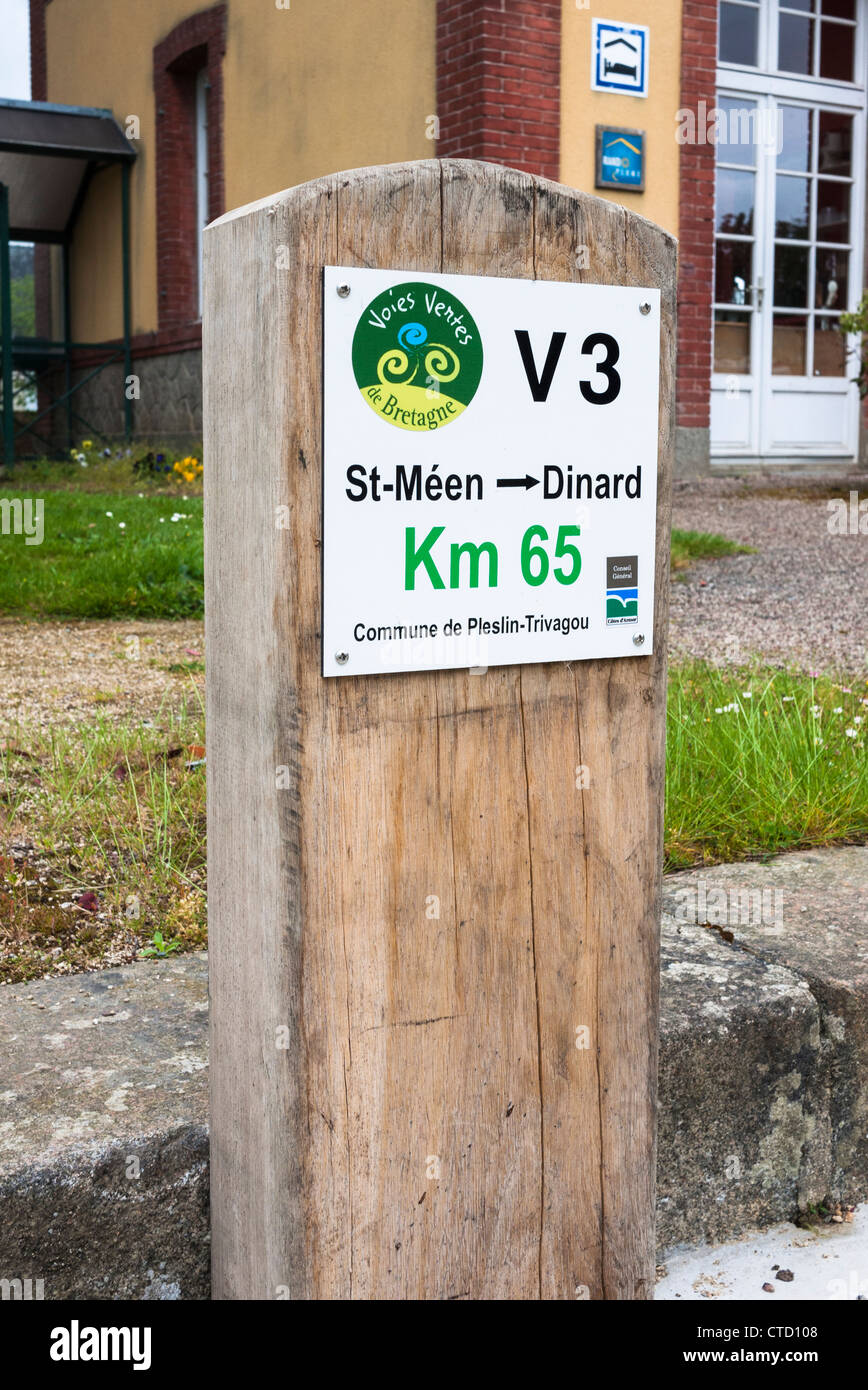 V3 cycleway sign Brittany France - Stock Image